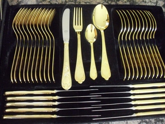 Gold Plated Cutlery Set uk Gold Plated Flatware Set