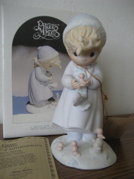 Vintage Precious Moments Figurine Winter's Song 1984 Retired