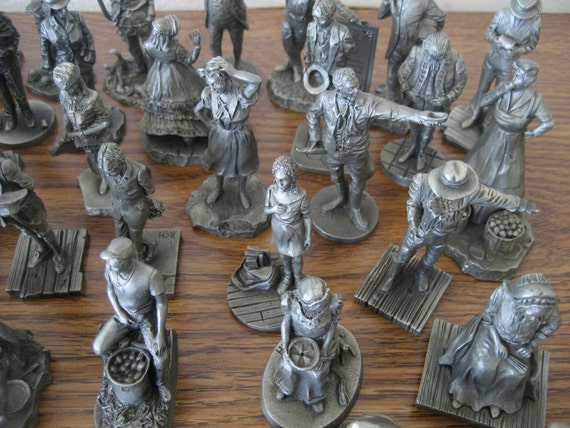 SALE Vintage Franklin Mint Saturday Evening Post Pewter 49 Piece Figurine Set