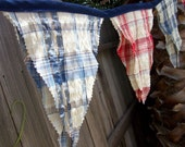 Red, White and Blue Fabric Banner/ Patriotic Bunting/ Photo Prop Vintage Insprired Seersucker Fabric -12 Pennants
