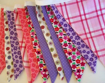 Fabric  Banner in Tiny Spring Florals/ Party Banner/ Photo Prop in Pink and Purple Floral, Dots and Plaid/ Valentine's Day