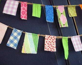 Fabric Scrappy Garland/ Spring Easter Banner/ Party Banner in Pink, Yellow, Green, Blue, Purple/  Photo Prop /Summer Party Decoration