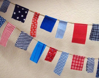 4th of July Fabric Scrappy Garland/ READY TO SHIP / Patriotic Bunting/  Labor Day/ Party Banner / Photo Prop in Bright Red White and Blues