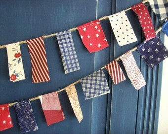 Fourth of July  Scrappy Banner/  4th of July Bunting Patriotic /READY to SHIP / Party Garland/ Photo Prop in Vintage Red, White and Blue