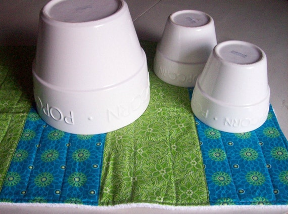 Dish Towel Mat/ Dish Drying Mat in Turquoise and Green Florals/ Perfect for gift giving