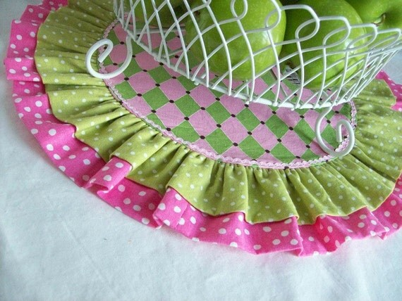 Table Runner/ Birthday Table Runner/ Cake Stand or Cup Cake Holder Mat/ Spring Easter Table Runner/ Reversible Table Round in Pink and Green