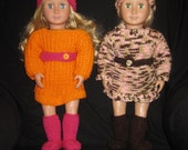 Varigated pink and brown set w/ belt and hat. Cherry pin kset w/ orange belt and  hat.Hand knit 18inch doll clothes, 25dollars per set