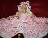 Pale pink southern belle Barbie dress, crocheted 15.00