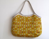 Linen purse Heather Ross Far Far Away II fabric, shoulder bag granny japanese style. Hobo bag, summer tote.