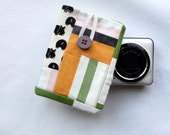 Zakka style small camera case, compact camera sleeve, original patchwork, well padded. Hippos print.