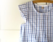 Summer pleated women's blouse, country style top, cotton checkered pleated shirt in blue. Size medium, 4 US, 40 EUR. Ready to ship.