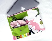 MacBook Pro 13 inch padded case cover,  13 inch MacBook Pro sleeve, 1 front pocket. Mom gift, pink and green squirrel.