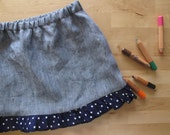 On sale. Toddler skirt, blue denim linen and polka dots volant. So lovely and charming, great for summer. Size 2T.