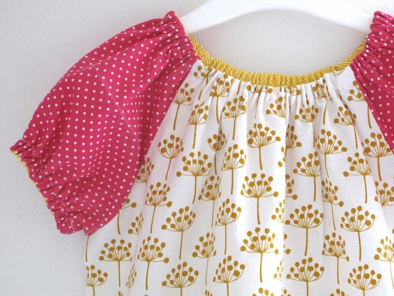 Dandelion baby girl top, peasant style blouse for toddlers. Short sleeve. Sizes 12 months to 2T. Made to order.