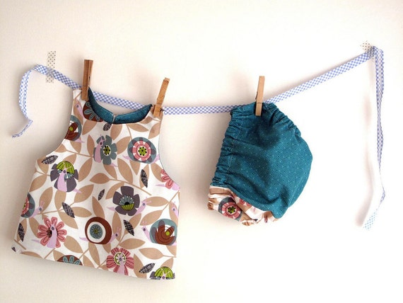Baby girl apron, baby vest, baby pinafore and coordinated bloomers, snails and teal. Size 3 to 6 months.