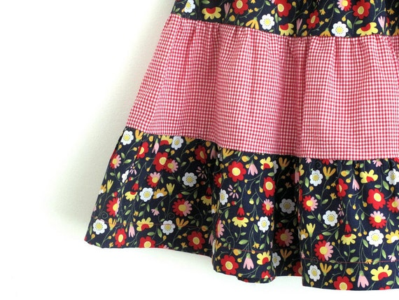 On sale. Girl's tiered skirt easy wear, floral and red gingham skirt size 5 years. Ready to ship.