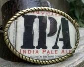 Hand Made Lagunitas IPA Beer Label Belt Buckle.
