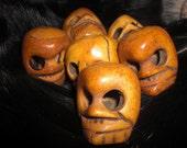 Carved Bone Skull Bead