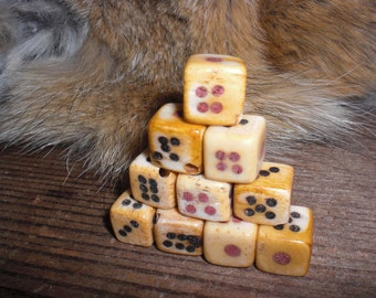 Carved Bone Dice Beads
