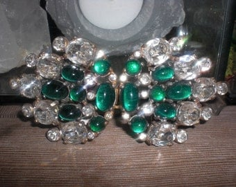 Jewled Green and Clear Buckle