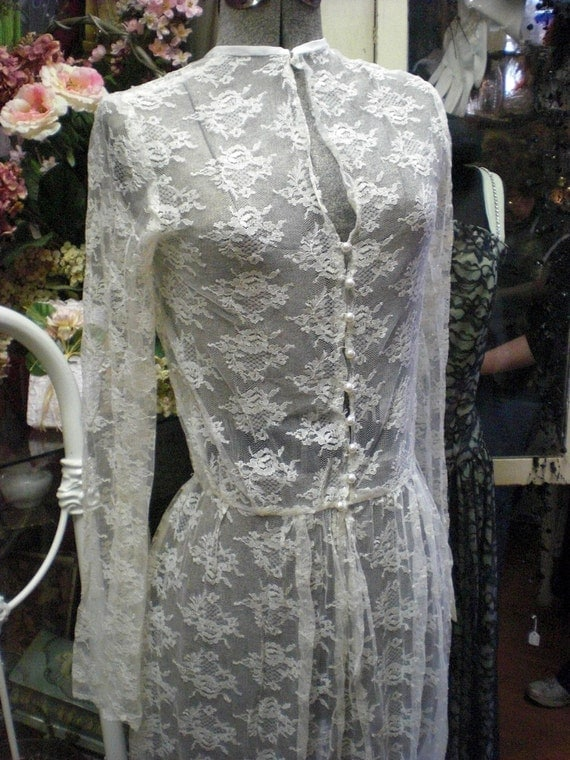 1940s White Lace Over Dress