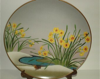 1979 Japan Floral  Bird Collector Plate Hand Painted & Decal