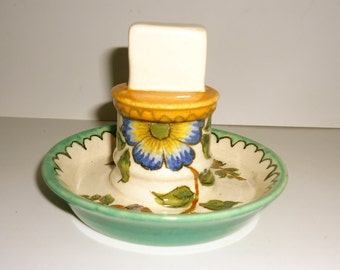 Small Gouda Holland Pottery Match Stand Hand Painted