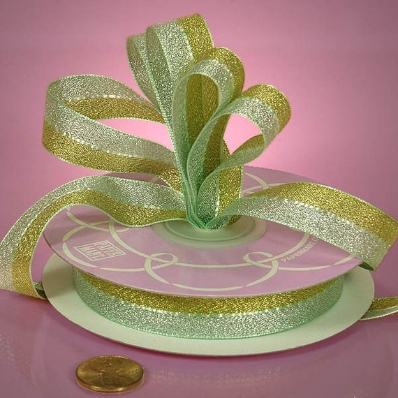Two Yards - Metallic Bi Color Iridescent Ribbon  5/8  Inch ..... Gold and Sage Green