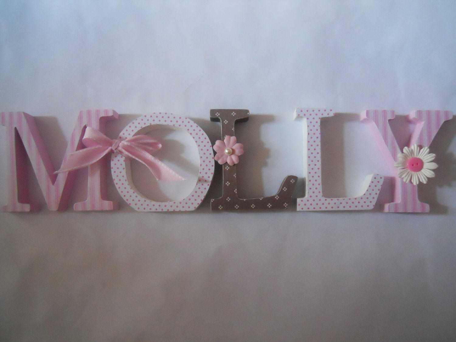 Wooden Letters For Nursery In Pink White And Brown