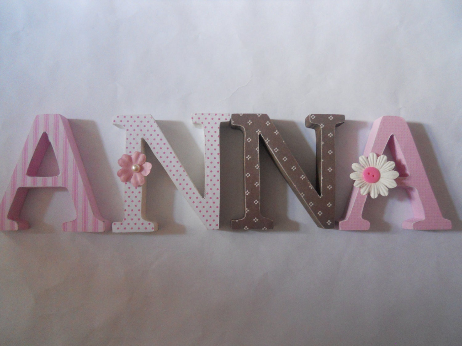 alphabet wooden letters for nursery in pink white and brown With wooden letters for nursery