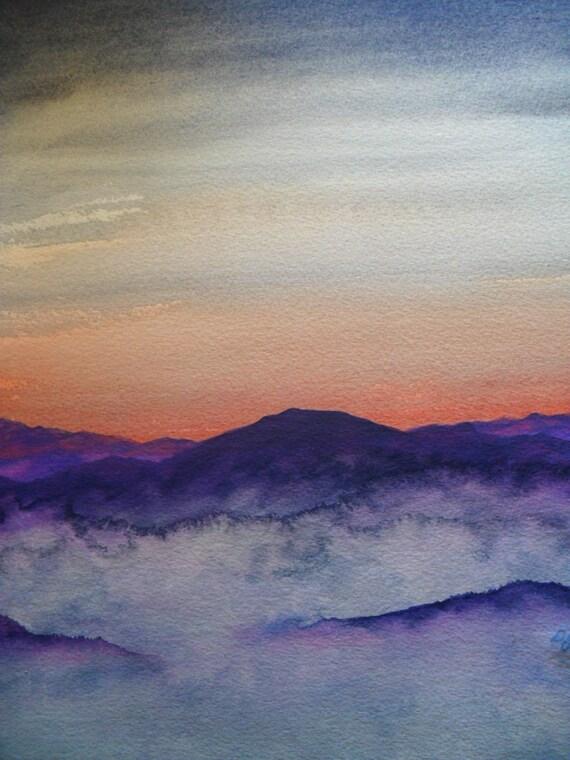 Sunrise on the Smokies Original Watercolor Painting