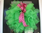 Kelly Green with Pink Polka Dot - Mesh Wreath