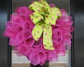 Magenta with Polka Dot ribbon - Mesh Wreath