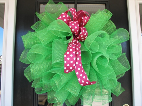 Custom for Molly - Kelly Green with Pink Polka Dot