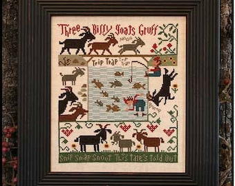 Three Billy Goats Gruff Book No. 179 : Prairie Schooler cross stitch pattern nursery rhymes counted hand embroidery