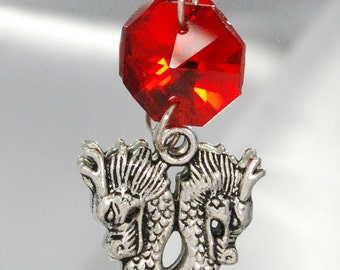 Red Gothic Double Dragon Pendant Charm Necklace Renaissance Faire LARP