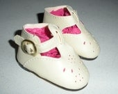 Fits 19 Inch Chatty Cathy  Doll.....Cream T-Strap with Teardrop Cut-Out  Doll Shoes......Item No.  3089CR