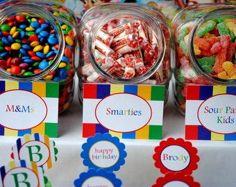 Candyland Birthday - Printable Party Labels