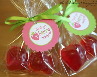 Strawberry Shortcake Birthday - Printable Thank You Party Tags [Instant Download]