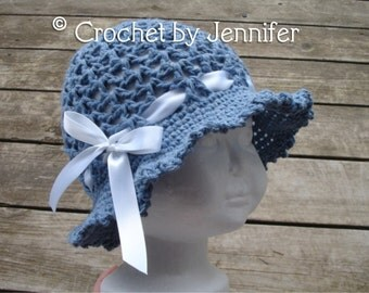 Crochet Pattern for Ava Sun Hat - Floppy Brim hat - 7 sizes, baby to large adult - Welcome to sell finished items