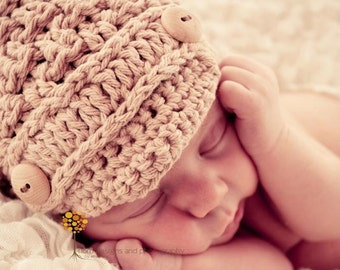 Crochet Pattern for Unisex Textured Newsboy Beanie Hat - 7 sizes, baby to adult - Welcome to sell finished items