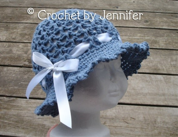 Free Crochet Summer Hat Patterns For Adults : Crochet Pattern for Ava Sun Hat Floppy Brim hat 7 sizes