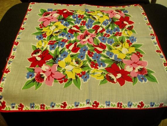 Vintage Hankie Hanky Handkerchief Flowers Floral   2477
