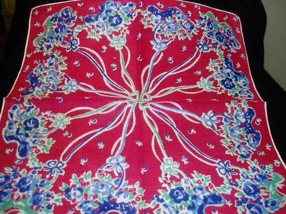 Vintage Hankie Hanky Handkerchief Flowers Floral    2605