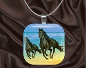 Black Horse Pair on beach Glass Tile Pendant with your choice of chain included