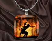 Fire Fairy Glass Tile Pendant with your choice of chain included