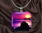 Purple Beach Sunset Glass TilePendant with your choice of chain included(light3.5)