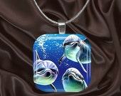 Dolphin Family Glass Tile Pendant with your choice of chain included(dolphin1.3)