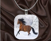 Winter Horse Glass Tile Pendant with chain(CuAn1.6)