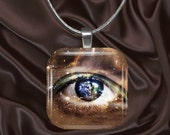 Starry Eye Glass Tile Pendant with chain(eye3.1)